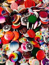 Painted shell beads x 15