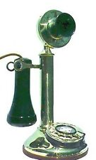 REPRODUCTION SOLID BRASS CANDLESTICK PHONE WORKING