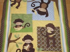 Lambs & Ivy Brown Yellow Blue Green Monkey Kids Baby Quilt Blanket
