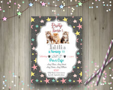 Personalised Kitten Cat Invites Cute Birthday Party Invitation 4x6 + Env Girls