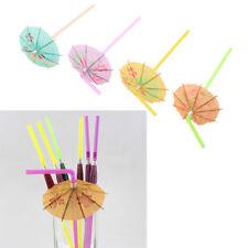 50X Fruit Juice Cocktail Straws Beach Party Umbrella Plastic Drinking Straws