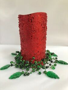 Pottery Barn Pepperberry Xmas Green Glass Wired Candle Ring Wreath