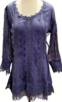 Pretty Angel Long Sheer Sleeve Tunic S M Lg XL Blue Lace Vintage Women's Nwt