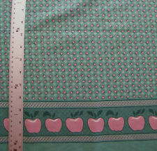 PINK APPLE DOUBLE BORDER PRINT  100% COTTON FABRIC BY THE 1/2 YARD VINTAGE