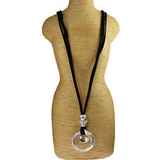 Twisted loop ring pendant black leather suede fashion lagenlook long necklace