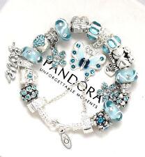Authentic Pandora Silver Bracelet Butterfly Blue Valentine European Charms New