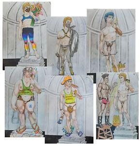 6 drawings GAY art inspired in The David by Michelangelo Dadante 2021
