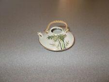 Small Oriental porcelain hand painted bamboo pattern miniature tea pot Read