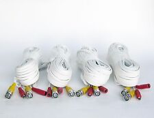 4 Pcs 60 Feet Ivory White Color BNC Premade Cable for CCTV Security Camera