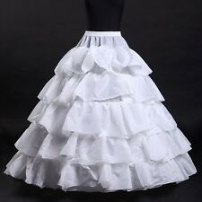 New Bride Petticoat 4-Hoops Underskirt Ruffle Crinoline Wedding Gown Dress Skirt