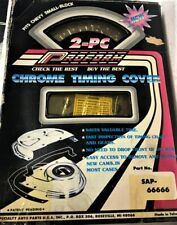 PROFORM 2 PC CHROME ENGINE TIMING COVER SMALL BLOCK CHEVY # SAP-66666 NEW.