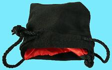"BLACK VELVET & LUXURY SATIN RED Lining DICE BAG SMALL 3.5""x4"" Silk Pouch Koplow"