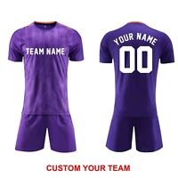 Customize Soccer Team Uniform DIY Custom Purple Jersey+Short Men Youth Wholesale