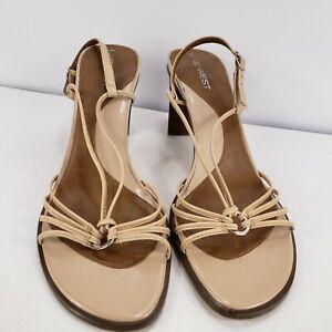 """Open Toe Thin Strap Sandal 3"""" Heel Women 8M Biege Spaghetti Strap Shoes"""
