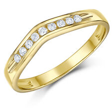 9ct Yellow Gold Ring Wishbone Diamond Set Wedding 3mm Ring Band
