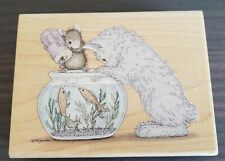 Rubber Stamp House Mouse Somethings Fishy Kitty Cat Feeding Fish Food Bowl