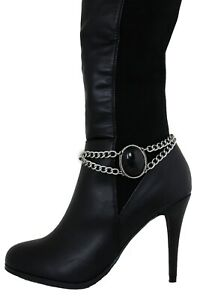 Ethnic Women Bohemian Boot Anklet Silver Chain Metal Sexy Shoe Bling Black Charm