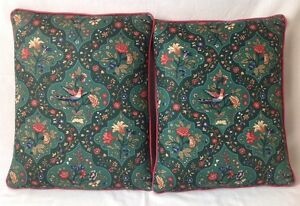 2 Vintage Fabric Throw Pillows with Puffy 3D Quilted Birds Trapunto 12.5x15""