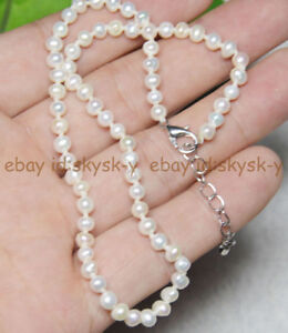 """Natural beauty! 3-4MM WHITE FRESHWATER PEARL JEWELRY NECKLACES 18"""" Extended"""