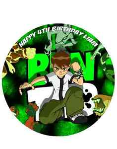 """BEN 10 PERSONALISED CAKE TOPPER DECORATION A4/8"""" CIRCLE WAFER/ICING SHEET"""