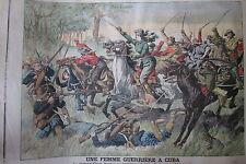 CUBA BATAILLE CHARGE DE CLAVA SANTOS FORT MONTFAUCON GRAVURE PETIT JOURNAL 1906