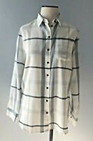 Barbour Women's Sz 6 Plaid Oxer Check Shirt White Long Sleeve