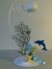 Ocean Theme ROUND/TEA LIGHT CANDLE HOLDER-DOLPHIN,CORAL,SHELLS,BLUE ROSES  Gift