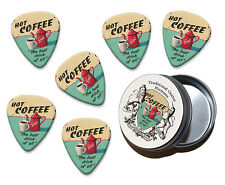 Hot Coffee The Best Drink Of All Martin Wiscombe 6 X Guitar Picks In Tin Vintage