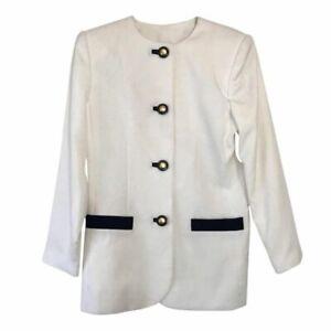 Vintage Kasper Colorblock White black classic blazer two tone jacket size 10 NEW