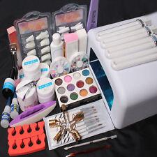 Nail Art Set UV Gel 36W Timer Dryer Lamp Buffing Cream Glitter Powder Nail Tips