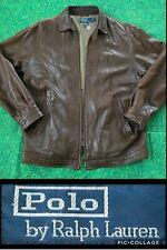 Vintage Polo Ralph Lauren Leather Jacket Soft Butter Brown Racer Sport Coat Men