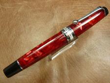 Aurora Optima Fountain Pen Red Auroloide With Chrome Trim Medium Point  New/Box