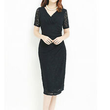 Black Crossover V-Neck Ruching Party/Race Dress Size 10