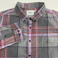 Goodfellow & Co Button Up Shirt Men's 2XL XXL Long Sleeve Plaid Slim Fit Casual