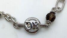 "Judith Ripka 925 Sterling Silver Smokey Topaz Chain Necklace 18"""