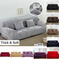 1-4 seat Fit Sofa Slipcover Stretch Protector Soft Cover Thick Plush Velvet UK