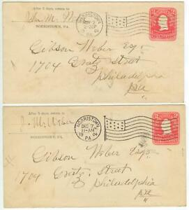 1904 Norristown Pennsylvania flag cancels on 2ct PSE's