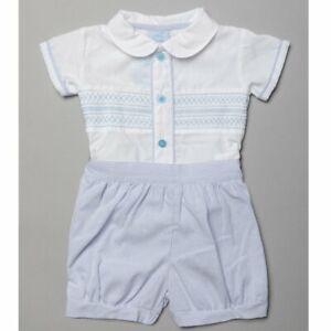 Baby Boys Spanish Style Blue/White Smocked Shirt & Striped Shorts 0-3-6-9M