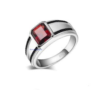 Natural Garnet & CZ Gemstones with 925 Sterling silver ring for Men's