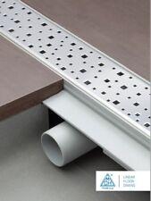 Caniveau de douche siphon sol acier inox gouttière plat 85cm Modèle : carré