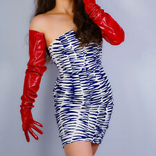 """LATEX LONG GLOVES Faux Patent Leather 35"""" 90cm Shine Red Large Sleeves Unisex"""