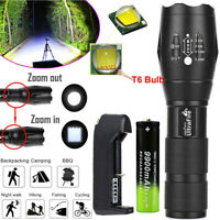 Tactical Outdoor LED T6 Lamp Flashlight 18650*Torch 50000LM Zoomable 5-Modes~