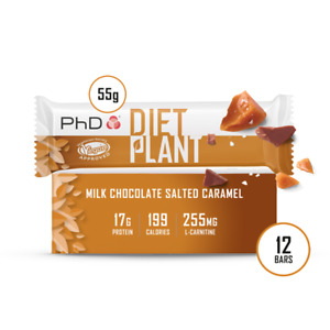 PhD Diet Plant Bars- High protein, low sugar Vegan approved protein bar-12 Pack