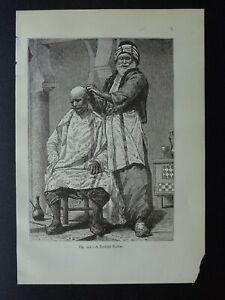 Turkey A TURKISH BARBER Original Victorian Print by Figuier c1893