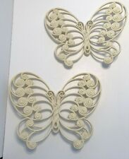 Vintage Burwood Co Large Pair of Butterflies #1629 Plastic Wall Decor Plaques