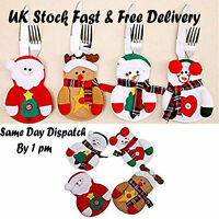 Christmas SantaTableware Silverware Cutlery Holder Bag Party Table Decoration UK