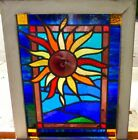 arts and crafts rondel sunflower leaded stained glass window 2