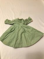 """Vintage Handmade Victorian Small Green & Pink Antique 10""""H Doll Dress"""