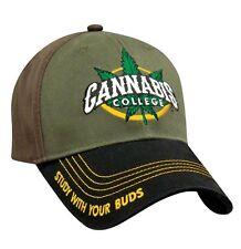 Cannabis College Baseball Cap Hat Study With Your Buds Marijuana MJ Weed Ganja