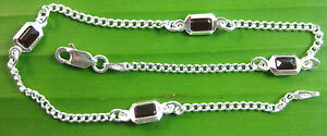 """MADE IN ITALY 925 Sterling Silver Red CZ 2mm curb BRACELET anklet 5.25"""" - 9.5"""""""